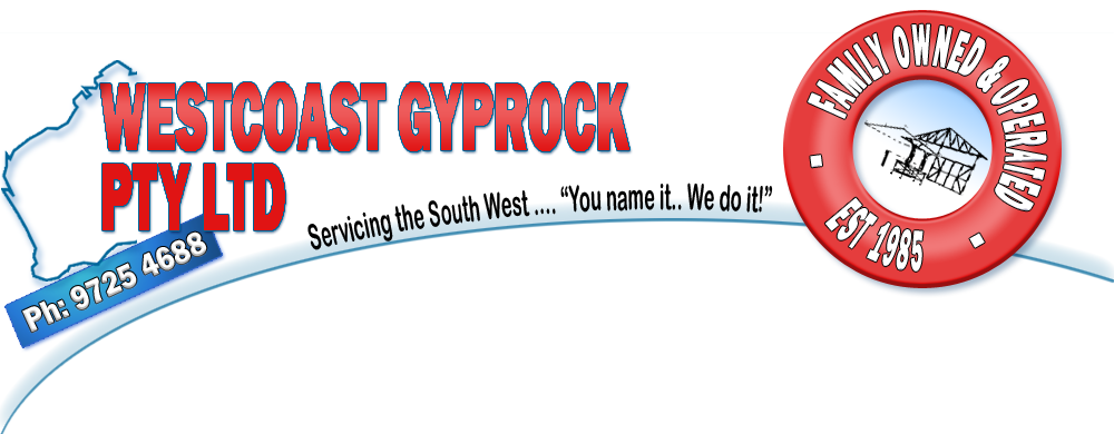 Westcoast Gyprock Pty Ltd Logo Header - Telephone: 9725 4688 Hardware Sales: 9725 6718